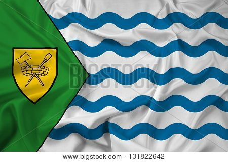 Waving Flag of Vancouver, with beautiful satin background