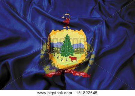 Waving Flag of Vermont State, with beautiful satin background