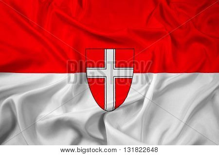 Waving Flag of Vienna State, with beautiful satin background
