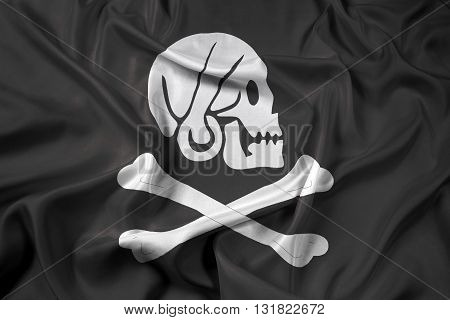 Waving Henry Every Pirate Flag, with beautiful satin background