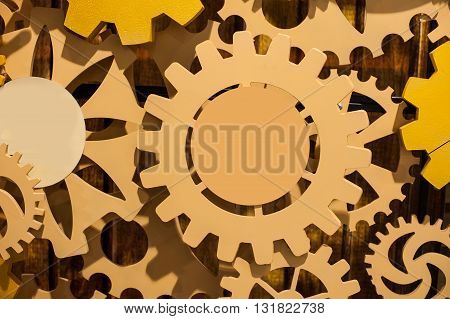 background consisting of bright gears and arrows concept of motion.