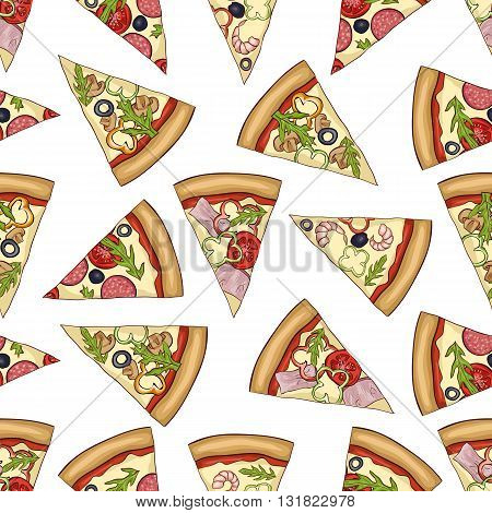 Seamless color pattern of 4 types pizza. Vector illustration, EPS 10