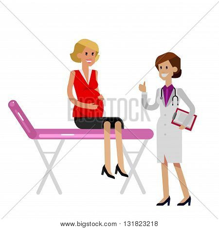 detailed character happy pregnant woman having a doctor visit in hospital. Gynecologist woman indicates that everything is OK. Cool flat  illustration isolated on white background.
