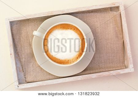 Cappuccino In The Cup On The Cloth