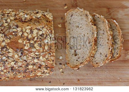 Wholegrain Bread With Seeds On The Wood