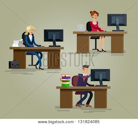 Vector detailed character corporate Office worker, business team people sitting behind desk. Office workers. Men and women office worker. Office worker cool flat  illustration