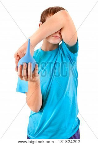 Kid with Enema Isolated on the White Background Focus on the Enema
