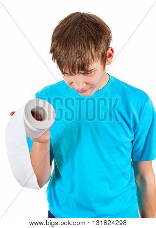 Kid with Toilet Paper Isolated on the White Background