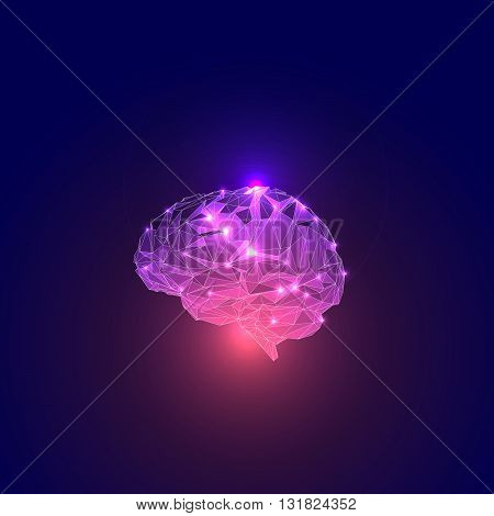 Triangular Polygons Human Brain. Human Brain Illustration. Low Poly human Brain. Abstract Symbol of Wisdom with Lights. Concept of the Active Human Brain. Vector Illustration