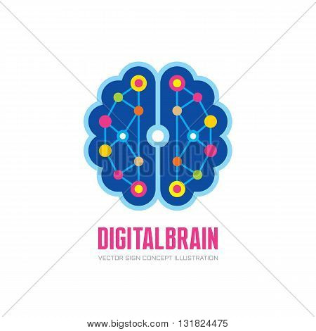 Digital human brain - vector logo concept illustration in flat style design. Mind logo sign. Future electronic structure technology creative sign. Thinking education logo sign.
