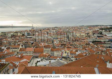 Urban landscape, Lisbon architecture and Tagus river, Portugal