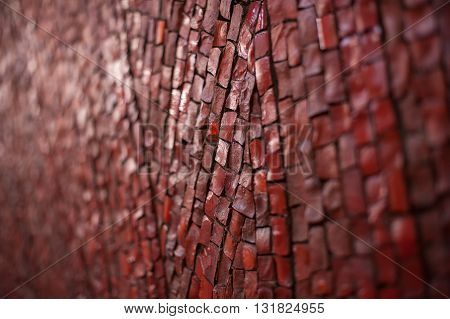 texture of red brick road for walking in park.