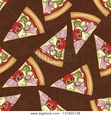 Seamless pattern scetch and color pizza with bacon on dark background. Vector illustration, EPS 10