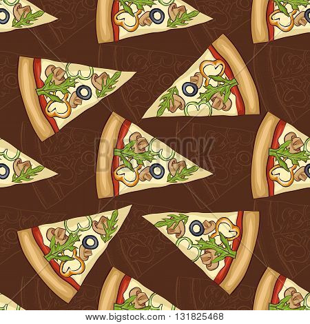 Seamless pattern scetch and color pizza with mashrooms on dark background. Vector illustration, EPS 10