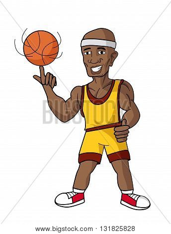cartoon basketball player with ball on white background