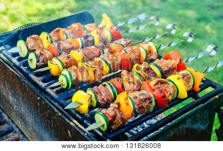 Barbecue vegetables and meat. barbecue pork pepper on the grill