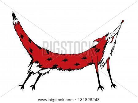 Cute fox cartoon. Red fox in motion.