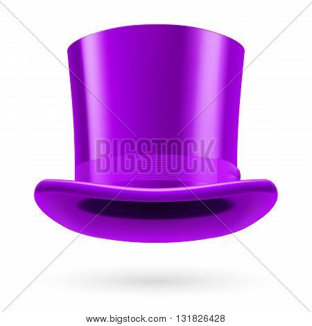 Lilac top hat on the white background.