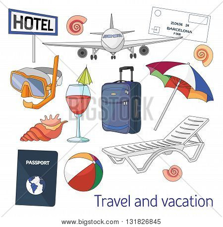 Travel and vacation set. Hand drawn sketch illustration isolated on white background