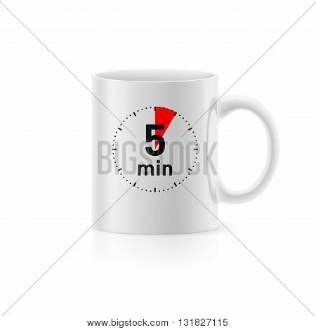 White cup with picture timer on background