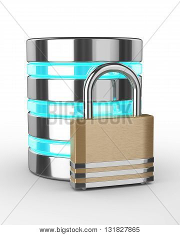 Database 3D With Closed Padlock Isolated On White Background
