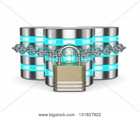 Databases 3D With Closed Padlock And Chain Isolated On White Background