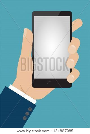 Hand holding smart phone. Flat designe vector illustration
