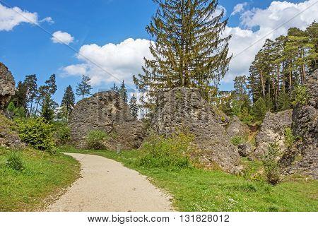 Educational trail through the Wental valley at Swabian Alps near Steinheim and Bartholomae