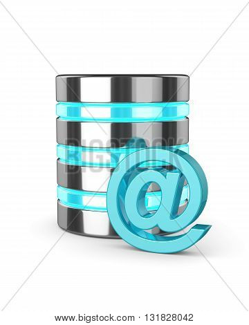 3D Database And Email Sign Isolated Over White