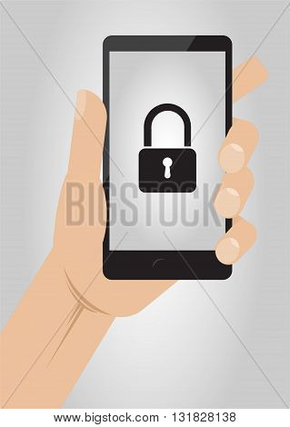 Hand holding smartphone with lock icon on display. Mobile Security concept vector illustration