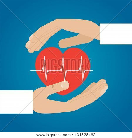 Hands holding heart. Medical icon vector illustration