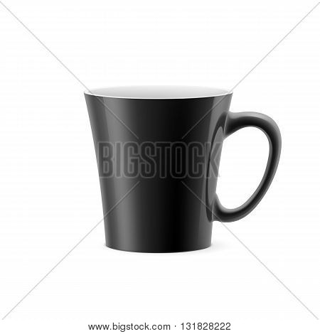 Black cup with tapered bottom stay on white background