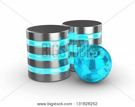 3D Database With Glass Globe Isolated On White Background