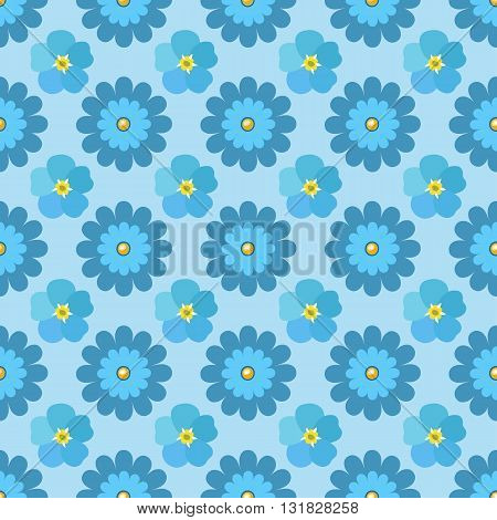 Flowers (stylized chamomile & forget-me-not) seamless background isolated on blue vector illustration