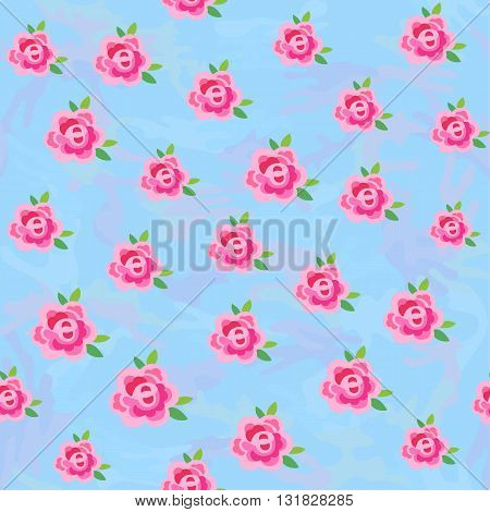 Flowers (stylized roses) seamless background isolated on blue camo vector illustration