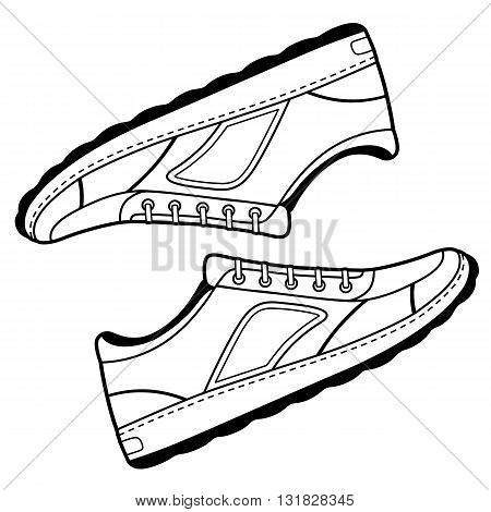 Pair unisex black outlined sneakers shoes side view vector illustration isolated on white background