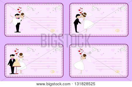 Set of wedding invitations on a pink background..Vector illustration.