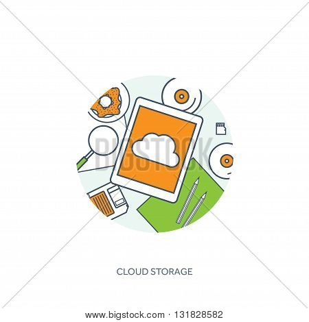 Lined, outline vector illustration. Workplace, table with documents, computer. Flat cloud computing background. Media, data server. Web storage.CD. Paper blank. Digital technologies. Internet connection.