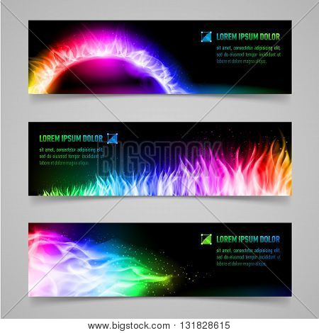 Set of mystic banners with multicolored flame