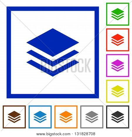 Set of color square framed layers flat icons