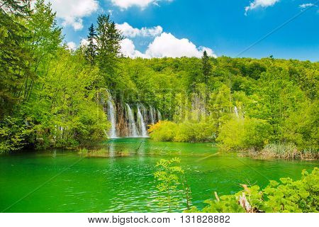 Beautiful landscape with waterfall in the Plitvice Lakes National Park in Croatia