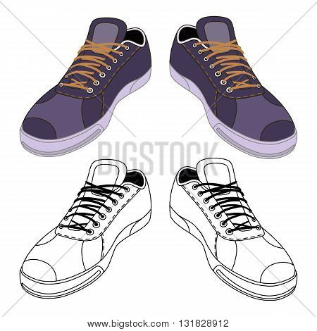 Black outlined & colored sneakers shoes pair front view vector illustration isolated on white background