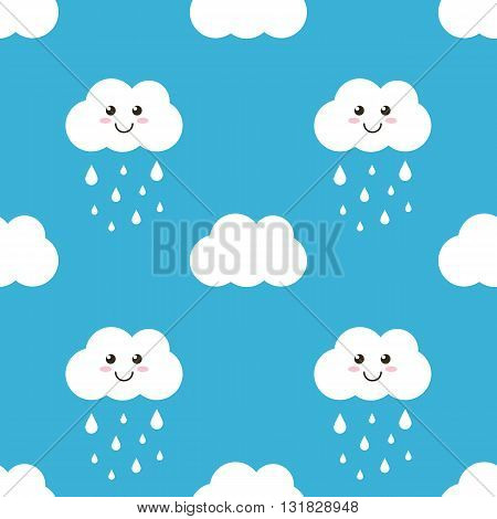 Funny cartoon cloud with water drops, rain seamless pattern background.