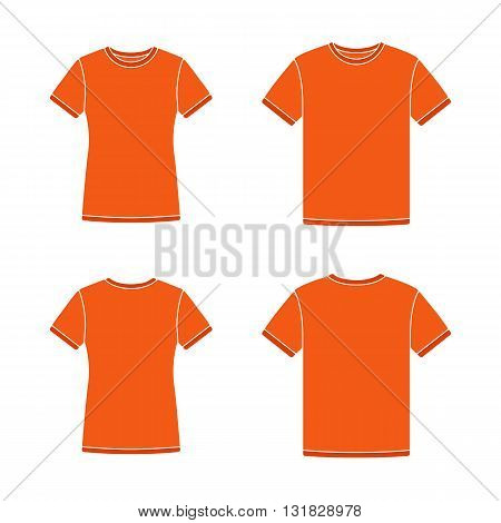 Mens and womens orange short sleeve t-shirts templates. Front and back views. Vector flat illustrations
