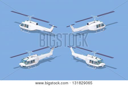 White helicopter. 3D lowpoly isometric vector illustration. The set of objects isolated against the blue background and shown from different sides