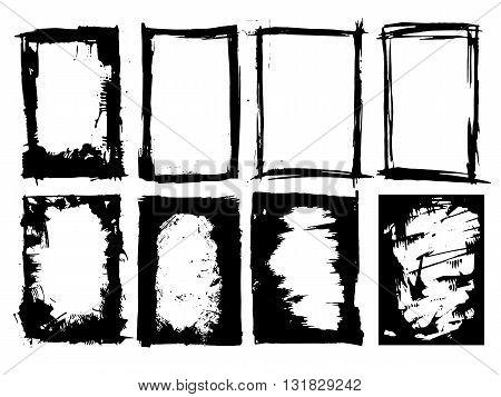 Set of black grunge ink frames isolated on white background