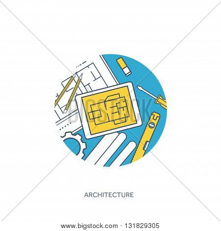 Lined, outline vector illustration. Engineering and architecture. Drawing, construction. Architectural project. Design, sketching. Workspace with tools. Planning, building.