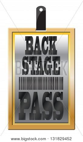 A gold back stage pass isolated on a white background