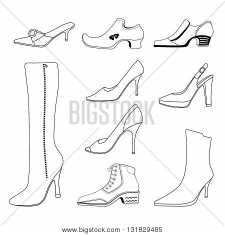 Outlined man & women shoes set vector illustration isolated on white background