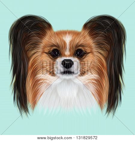 Illustrated Portrait of Papillon dog. Cute fluffy face of Continental Toy Spaniel dog on blue background.